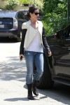 "Sandra Bullock shows a duo of trends - black & white, plus leather brings a major upgrade to the term ""biker chick"" and style makes it instead ""biker chic""."
